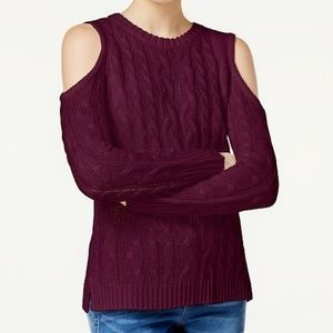 Hippie Rose Cold-Shoulder Cable-Knit Sweater